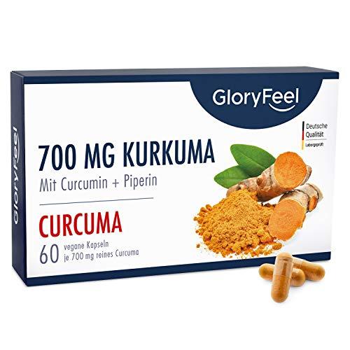 Curcuma mit Curcumin PLUS Piperin - 700mg je Kapsel - 60 vegane Kapseln Original Kurkuma aus Indien - Hochdosiert OHNE Zusätze - Laborgeprüfte Herstellung in Deutschland