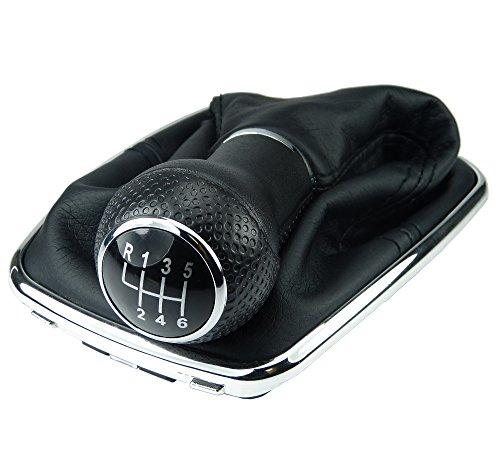 L & P Car Design L&P A253-6 Schaltsack Schaltmanschette Schwarz Schaltknauf 6 Gang 12mm kompatibel mit VW Golf 4 IV Chrom Rahmen Knauf Plug Play Ersatzteil für 1J0711113