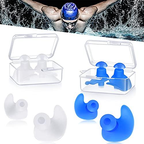 4 Paare Schwimmen Ohrstöpsel, Wasserdichte Wiederverwendbare Silikon Schwimmen Ohrstöpsel zum Schwimmen Duschen Baden Surfen Schnorcheln, Geeignet für Kinder und Erwachsene (Weiß und Blau)