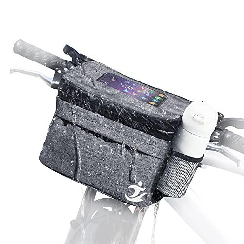 MKYRLX Fahrradlenker-Tasche, berührbare Transparente Fahrrad-Telefonhalterung wasserdichte Fahrrad-Frontrahmen-Tasche mit Netztasche Kalte und warme Isolierung für das Radfahren im Freien (Grau)