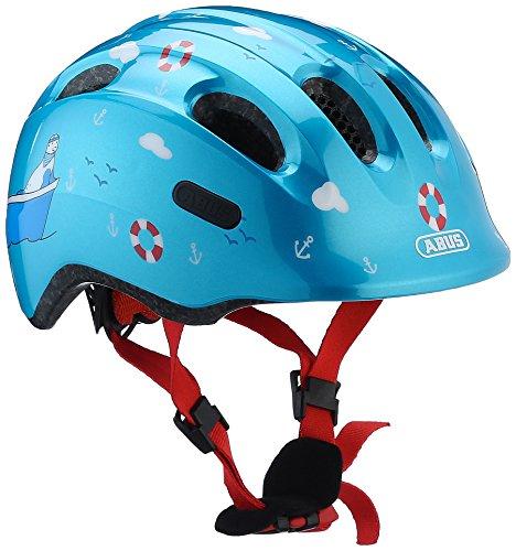 ABUS Smiley 2.0 Kinderhelm - Robuster Fahrradhelm für Mädchen und Jungs - 72570 - Blau mit maritimen Muster, Größe S