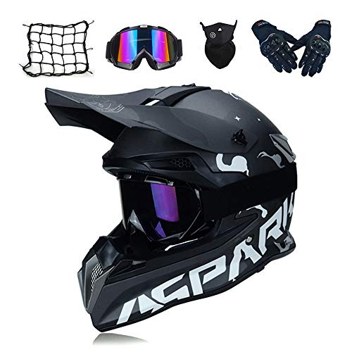 MRDEAR Motocross Helm Schwarz, Motorrad Crosshelm Set mit Brille Handschuhe Maske Motorrad Netz, Fullface MTB BMX Helm Motorradhelm Herren für Quad ATV Downhill Enduro Sport,L