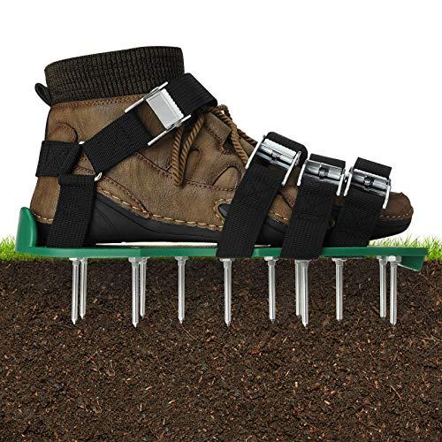 EIVOTOR Rasenbelüfter Schuhe Rasenlüfter Vertikutierer Rasen Sandalen Rasenvertikutierer Nagelschuhe Rasenbelüftungsschuhe mit 8 Verstellbare Gurte Metallschnalle zum Rasenpflege für Garten, Hof