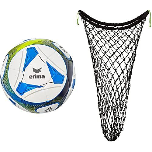 erima Fußball Hybrid Training, royal/Lime, 5, 719505 & Unisex Ballnetz für 10 B lle, Schwarz/Green, Einheit EU