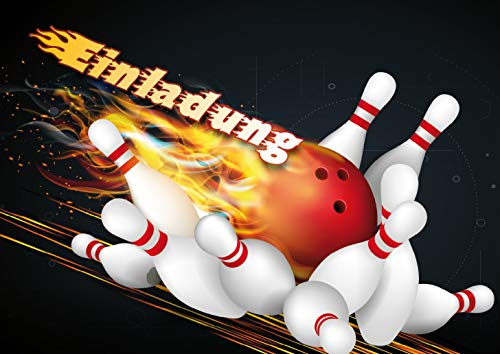 10 Bowling-Einladungen (Set 1) / Geburtstagseinladungen Kinder Mädchen Jungen: 10-er Set Bowling-Einladungskarten zum Kindergeburtstag oder zum Bowling/Kegel-Abend von EDITION COLIBRI © (10694)
