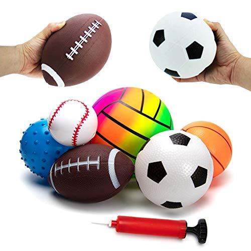 BACIVIC 6 stück Baby Ball Softball Kinder, Spielzeugball für Baby Softbälle-Set - Basketball Fußball Tennis Stressabbau Ball Babyball mit Pumpe | Für Babys ab 3 Monaten, Bunt