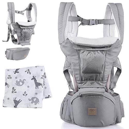 BELLY BOON Babytrage für Neugeborene ab Geburt - ergonomische Baby Trage aus hochwertiger Baumwolle mit flexiblem Tragesystem für Frauen & Männer (grau)