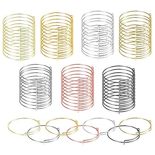 Allazone 70 Stück Erweiterbarer Armreif, 7 Farbe Verstellbares Armband Armreif Einstellbar Draht Armband für DIY Schmuck Machen Armbänder