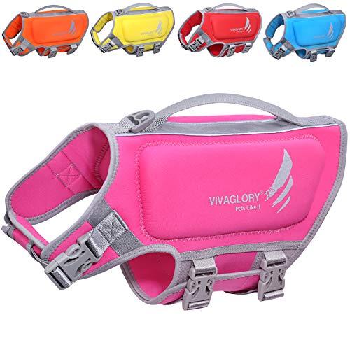 VIVAGLORY Schwimmweste für kleine Hunde aus Neopren, Größenverstellbar mit Starkem Auftrieb und Rettungsgriff, Pink, Größe S