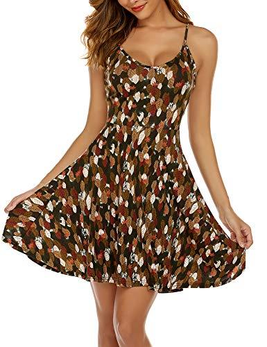 UNibelle Damen Nachthemd Sexy Negligee Baumwolle Nachtkleid Kurz Spitze Nachtwäsche Bequem Sleepwear Trägerkleid V Ausschnitt Navyblau XL