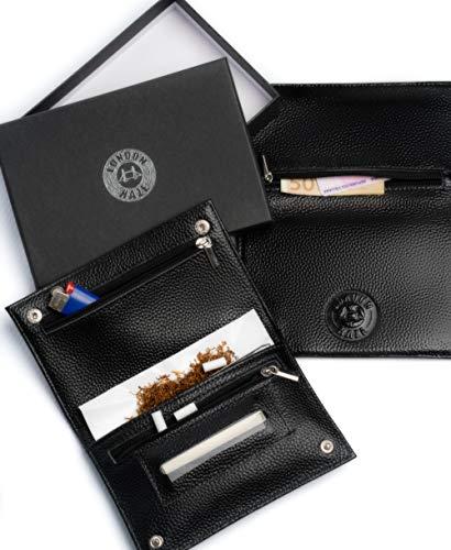 Leder Tabaktasche Tabakbeutel aus schwarzem Leder mit eingeprägtem London Haze Logo, schwarz tabaktasche. Geschenkidee für Raucher. Black leather Tobacco Pouch