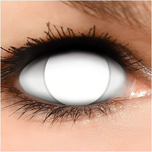 Farbige Kontaktlinsen Blind White komplett weiß STARKE SICHTEINSCHRÄNKUNG,+ Behälter - Top Linsenfinder Markenqualität, 1Paar (2 Stück)