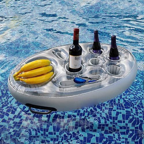 Aufblasbarer Getränkehalter - Schwimmender Bierhalter Tabletts - Tragbare Getränke Dosenhalter Flaschenhalter aus PVC - Pool Untersetzer - Coasters für Party Pool Wasser-Spaß Strand Spielzeug(Silber)