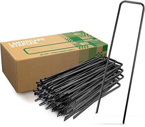 GardenGloss Erdanker aus Stahl unverzinkt (100 Stück) - Stabile Bodenanker für Unkrautvlies, Gartenvlies, Zaun & Netz - 150 MM Lang, 25 MM Breit, Ø 2.7 MM