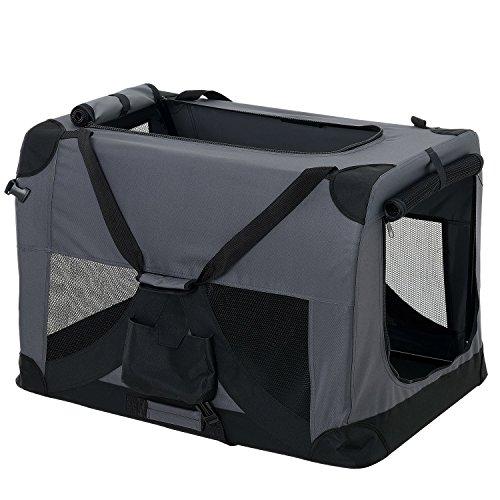 pro.tec] Faltbare Hundetransportbox Gr. L 52 x 52 x 70cm Transportbox Katzenbox Hundebox Grau Pfegeleicht