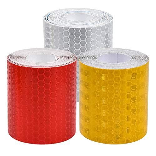 Fodlon Reflektorband Selbstklebend Warnklebeband Reflektierend für die Sicherheit im Dunkeln 3 Rolle Wetterfestes Reflektionsband Reflektoren Fahrrad Reflektor Aufkleber 50 mm × 3 Meter Rot Weiß Gelb