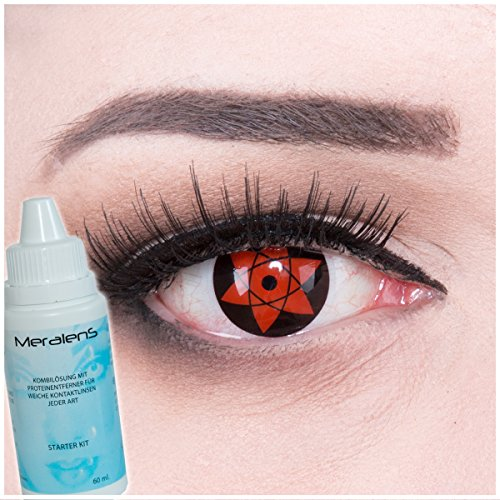 Farbige Anime Kontaktlinsen Color Fun Contact Lenses 'Sharingan Uchiha Sasuke's Mangekyou' perfekt zu Fasching, Karneval und Halloween Premium mit gratis Linsenbehälter + 60ml Pflegemittel