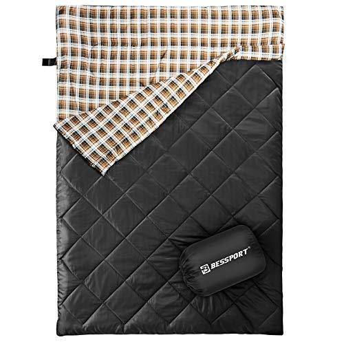 Bessport Schlafsack 2 Personen, Doppelschlafsack Winter Erwachsene, 5℃ Warm Deckenschlafsack 3-4 Jahreszeiten, Schlafsack Wasserdichter & Ultraleicht für Camping, Outdoor und Trekking