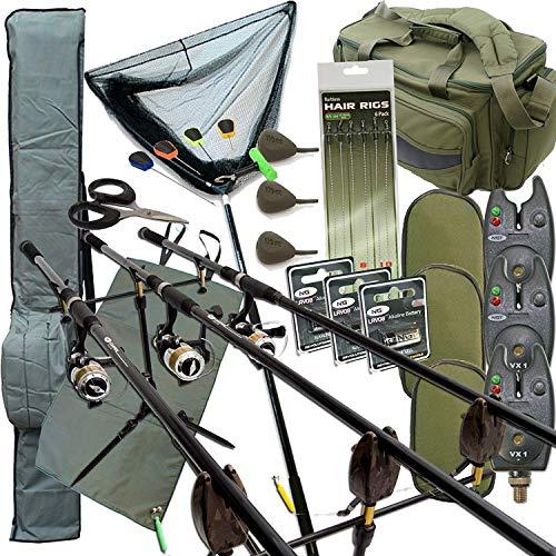Komplettes Karpfen Angelzubehör Set Up mit 3 X Stangen 3 X Rollen Beinhaltet Rute Sporttasche Carry All