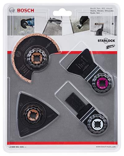 Bosch Professional Fliesen-Set 4tlg. (Mörtel und Fliesenkleber, Starlock, Zubehör für Multifunktionswerkzeuge)