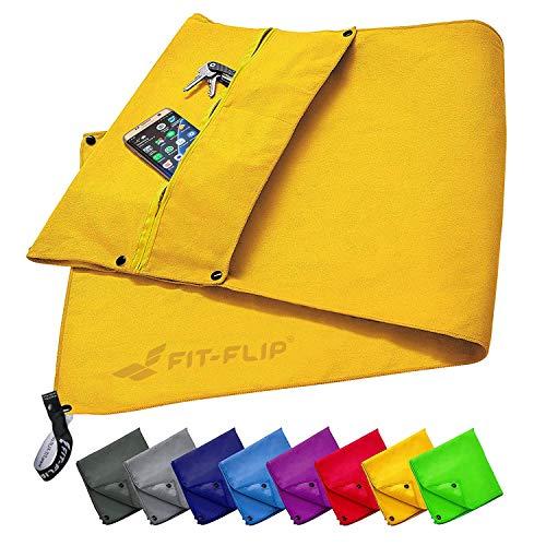 Fit-Flip Fitness Handtuch Set mit Reißverschluss Fach + Magnetclip + extra Sporthandtuch | zum Patent angemeldetes Multifunktionshandtuch, Mikrofaser Handtuch - Gelb