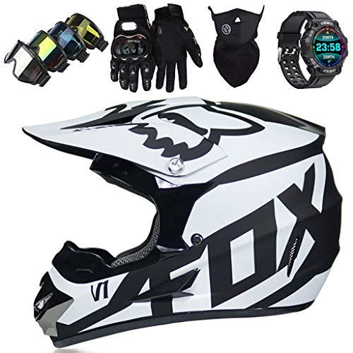 Motorradhelm,JMY-01 Motocross Helm Set mit Brille und Sport Smart Watch, Fullface MTB Dirt Bike Offroad Motorrad Helm Geeignet für Kinder von 5 Bis 14 Jahren - mit Fox Design - Schwarz-Weiss,L