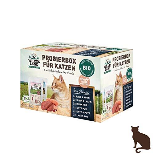 Wildes Land   Nassfutter für Katzen   Mix   Bio   6 x 200 g   Aus kontrolliertem biologischen Anbau   Getreidefrei   Extra viel Fleisch   Beste Akzeptanz und Verträglichkeit