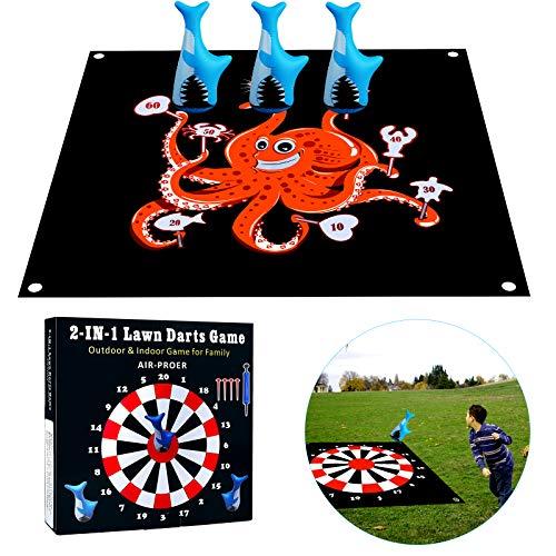 Yojoloin Outdoor Spielzeug für Kinder ab 6 7 8 9 10 Jarh,Familienspiel Yard Aktivität für Jungen Mädchen Erwachsene,Rasenpfeilspiel Bodenspiele mit Spielmatte und Weichen Pfeilen