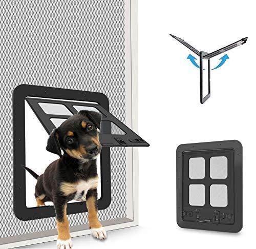 CEESC Hundeklappe Katzenklappe fliegengittertür (Außengröße:24 x 29cm), 4-Wege-Verriegelung Haustierklappe Fliegengitter für kleine Hunde und Katzen mit einem Umfang <60cm (Schwarz)