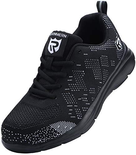 Sicherheitsschuhe Herren Damen, Leicht SRC rutschfeste Anti-Piercing Schuhe Schutz Arbeitsschuhe mit Stahlkappe Sicherheitssneaker (Schwarz 48 EU)