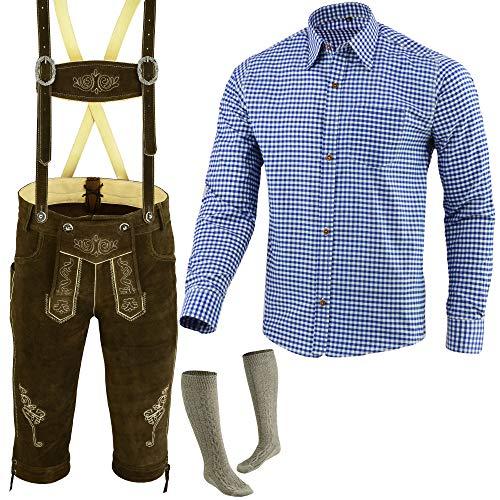 Speed4allkinds Herren Trachten Lederhose Größe 46-62 Trachten Set,Hose,Hemd,Socken Neu (Lederhose 50 Blau Hemd L Socken 43)