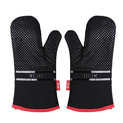 Deik Ofenhandschuhe, Hitzebeständige Topflappen Handschuh, Lange Handschuhe, Silikon Anti-Rutsch Design, Geeignet für Kochen, Backen, Grillen, BPA Frei