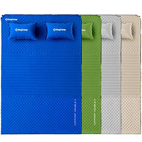 KingCamp Doppel Isomatte Selbstaufblasbare Campingmatratze mit 2 Selbstaufblasenden Kissen für Camping Outdoor, Super Komfort für 2 Personen, 198 × 130 × 4 cm, Beige