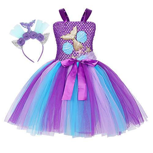 AmzBarley Meerjungfrau Kostüm Kleid Kinder Meerjungfrauen Mädchen Prinzessin Kleider Geburtstag Party Ankleiden Karneval Cosplay Abendkleid Kleidung Stirnband