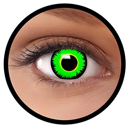 Farbige Kontaktlinsen grün Reptil + Behälter, weich, ohne Stärke in als 2er Pack (1 Paar)- angenehm zu tragen und perfekt für Halloween, Karneval, Fasching oder Fastnacht Kostüm