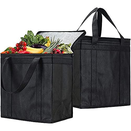 Liseng 2 Pack Große Kühl-Tasche Kühl-Einsatz Thermo-Tasche für Klapp-Box Kühl-Box Isolier-Kiste Einkaufs-Tasche Isolierung für Wärme und Kälte Lebensmittel-Transport schwarz, 35 cm x 33cm x 20 cm