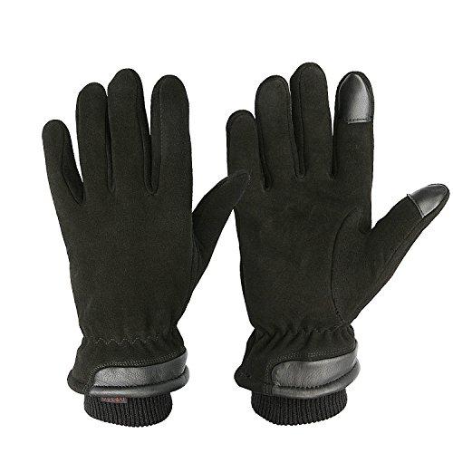 OZERO Thermo Winterhandschuhe, Herren Lederhandschuhe mit Touchscreen-Fingerspitzen,für Radfahren,Lauf,Ski
