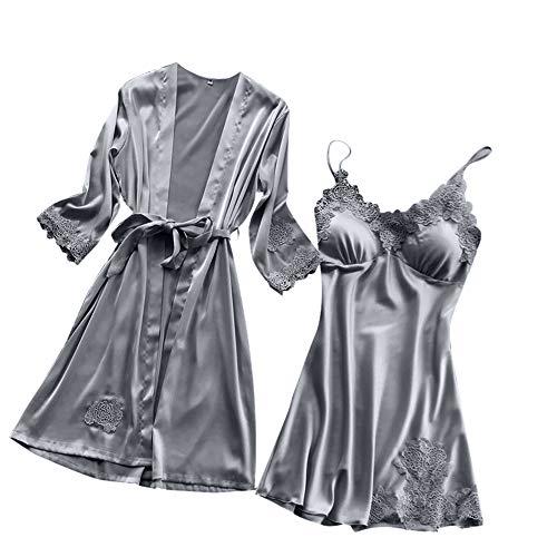 Satin Negligee Dessous Set für Damen Kurz Nachtwäsche Nachthemd Sleepwear Lingerie Spitze-BH mit String