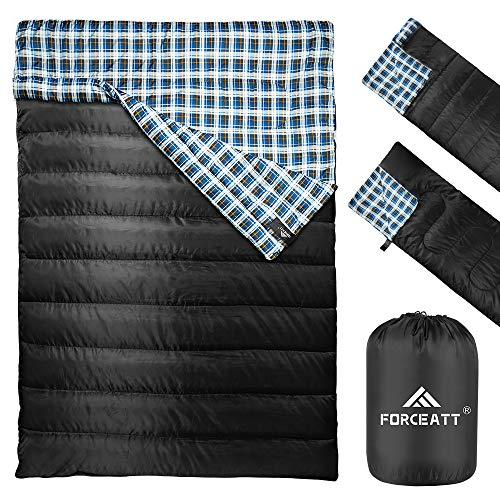 Forceatt Doppelschlafsack | Camping Schlafsäcken, wasserabweisender Campingschlafsack für 2 Personen, leicht und tragbar für Erwachsene Teenager Kinder Rucksackwandern Wandern im Freien und drinnen