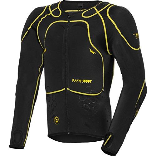 Safe Max® Protektorenjacke Motorrad Protektorenhemd Unterziehjacke mit Protektoren, Level 2, extrem funktional, Schulter-, Ellbogen- und Rückenprotektor, luftig, atmungsaktiv, Schwarz, XXL / 2XL