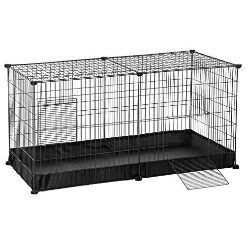 SONGMICS Laufgitter, Meerschweinchen-Käfig, Freigehege für Kaninchen mit wasserfester Unterlage und 2 Türen, DIY Auslauf aus Metall, Kleintiergehege Innenbereich, 123 x 63 x 61 cm schwarz LPI05H