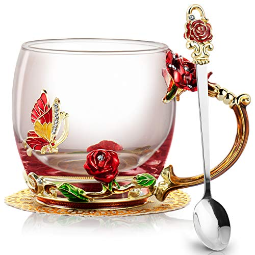 COCHIE Glasteetasse,Emaille Rote Rose Blüten Schmetterling Kristallglas Tasse Blumen Kaffeebecher,Glas Teetasse mit Löffel Mütter Valentinstag Hochzeit