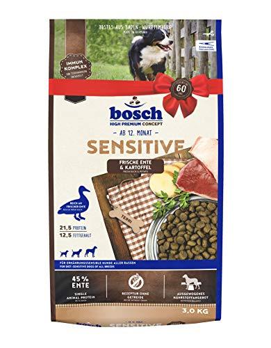 bosch HPC Sensitive Ente & Kartoffel | Hundetrockenfutter für ernährungssensible Hunde aller Rassen | 1 x 3 kg