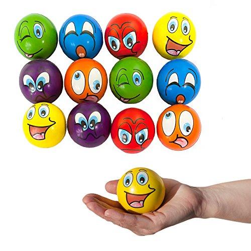 Oblique Unique® 12 Stück Smiley Grimassen Knautschball Antistressball bunt Softball Schaumstoff