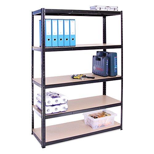 Lagerregal für Garage: 180 cm x 120 cm x 45 cm | Schwarz - 5 Stufig | 175 kg pro Regal (875 kg Kapazität) | 5 Jahre Garantie