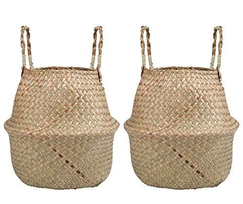 Lawei 2 Stück Seegras Korb Wäschekorb, Handgewebt Faltbar Blumenkorb mit Griff für Spielzeug Wäsche Picknick Pflanztöpfe Strand Tasche, S