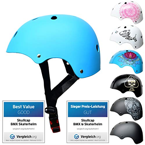 Skullcap® Skaterhelm Kinder hellblau Blue Ocean - Fahrradhelm Jungen Mädchen ab 6 Jahre Größe 53-55 cm - Scoot and Ride Helmet Kids - Skater Helm für BMX Scooter Inliner Fahrrad Skateboard Laufrad