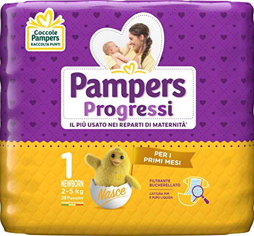 Pampers Progressi Newborn Windeln, Größe 1 (2-5 kg), 28 Windeln