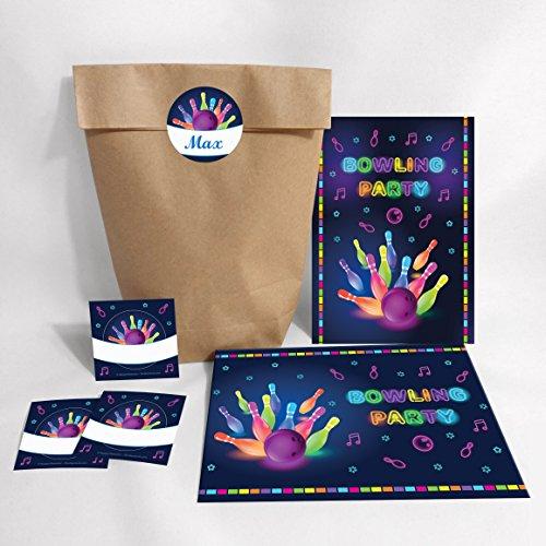10-er Set Einladungskarten, Umschläge, Tüten, Aufkleber zum Kindergeburtstag Bowling für Mädchen und Jungen / Erwachsene / Bunte Einladungen zum Geburtstag / Geburtstagseinladungen