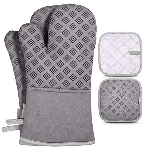 Homemaxs Ofenhandschuhe und Topflappen Set, 250℃ Hitzebeständige Anti-Rutsch Topfhandschuhe, Geeignet für Kochen, Backen, Grau